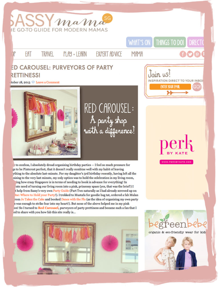 Online publicity for Red Carousel on the Sassy Mama website